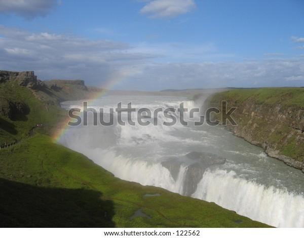 Iceland's most famus waterfall, Gullfoss.