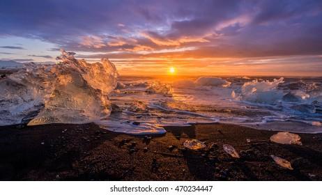 Ices On the beach at Jokulsarlon glacier lagoon - Iceland