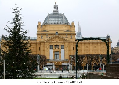Ice-skating rink and Christmas decorations in front of The Art Pavilion, landmark in Zagreb, Croatia. Advent in Zagreb Fair was voted as the European Best Christmas Destination for 2016.