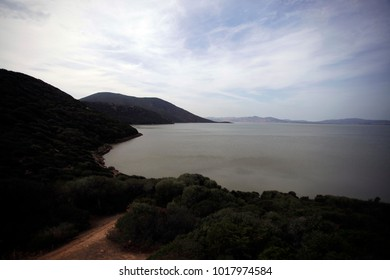 Ichkeul lake - african surface with water surface, hills and ble sky