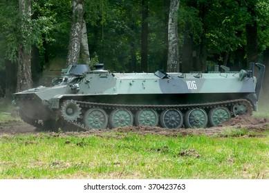 Ichnia, Ukraine - May 21, 2013. Light multipurpose armored artillery tractor MT-LB