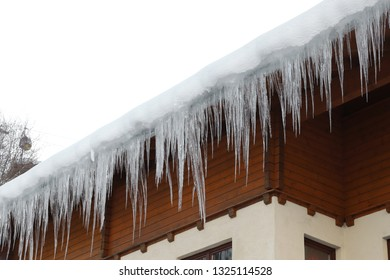 Icicle on a roof in Schladming in Austria