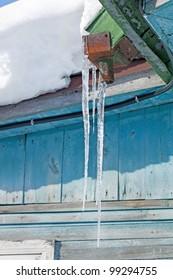 icicled farmhouse
