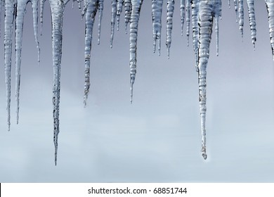 Icicles: A beautiful row of hanging icicles
