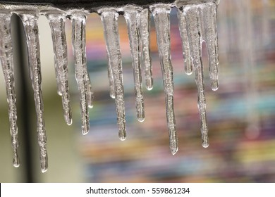 Icicles with colorful background