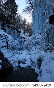 Icicles from Frozen waterfall in Nagano Japan