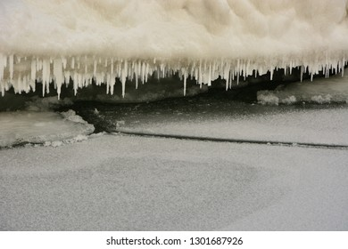 Icicles handing from the icebergs along the shore of Lake Michigan in the midst of a sub-zero temperature snap.