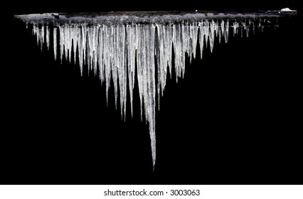 icicles on the black background isolated