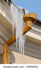 Icicles on drainpipe