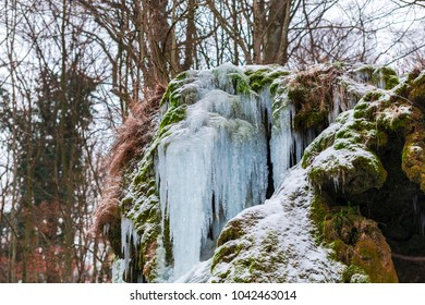 Icicles on the frozen waterfall