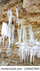 Icicles on a rock