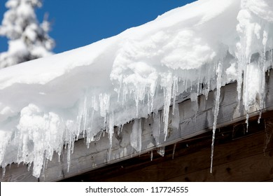 Icicles on the roof of the old house