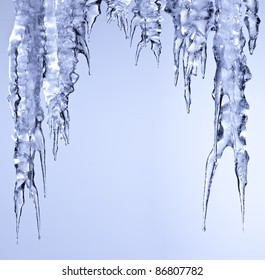 icicles sparkling white ice hanging down