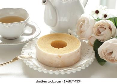Icing Baumkuchen German cake for gourmet dessert