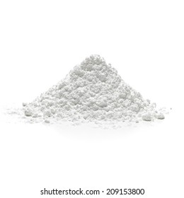 Icing, powder, confectioners or caster sugar pile side view isolated on white background