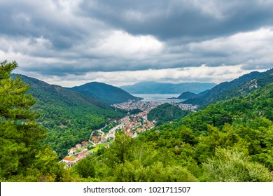 Icmeler view from hill in Marmaris Town
