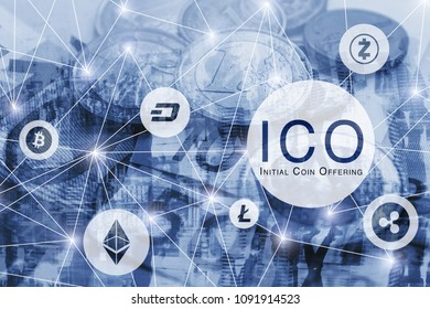 ICO concept, initial coin offering, digital money crypto currency bitcoin, litecoin, ethereum, dash, ripple