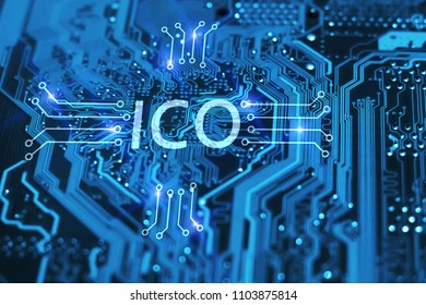 ICO. Initial coin offer concept of futuristic blue integrated circuit background. Blockchain and cryptocurrency concept.