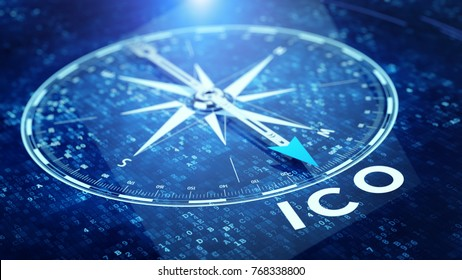 ICO Initial Coin Offering concept. Compass needle pointing ICO word. 3d rendering