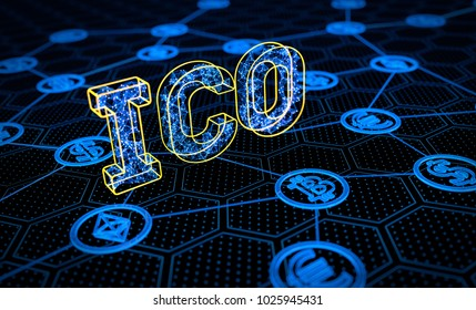 ICO Initial Coin Offering Financial Concept. 3D illustration