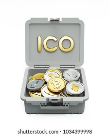 ICO Initial Coin Offering Financial Concept. Case with Cryptocurrency isolated on White. 3D illustration