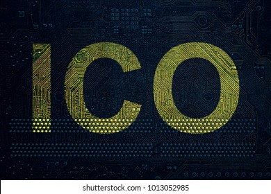 ICO procedure Initial coin offering on the PC circuit board.