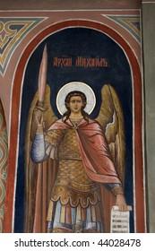 Icon of Archangel  Michael on wall of church of St. Boris and St. Gleb in Kideksha.  It is on the World Heritage List of UNESCO.
