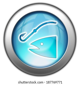 Icon, Button, Pictogram with Fishing, Angling symbol