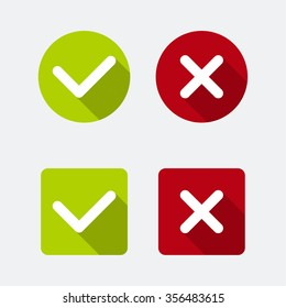 Icon with check marks confirmation, acceptance positive passed voting agreement true and form of access  denial, refusing. flat design