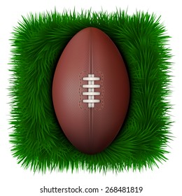 Icon Classic rugby leather ball on green grass.