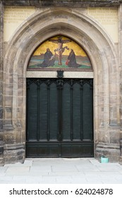 Icon and door of  the All Saints' Church in Wittenberg, Germany