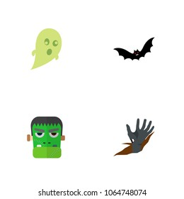 Icon flat celebrate set of ghost, zombie, corpse hand  objects. Also includes zombie, corpse, superstition elements.