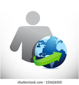 icon globe avatar illustration design over a white background