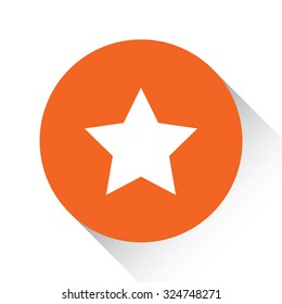 An Icon Isolated on a Orange Circle with Shadow - 5 Pointed Star