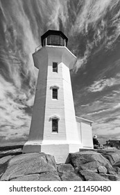 Icon Lighthouse at Peggy's Cove Nova Scotia Canada in Dramatic Black and White