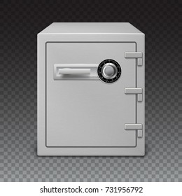 Icon of metal box on a transparent background, front view. Big safe and digital lock with sophisticated details. 3D illustration, realistic image