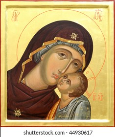 The Icon a Mother of God (Mary) and child (Jesus Christ) on gilding wood