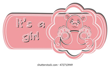 icon with pink teddy bear and words it's a girl