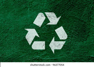 Icon recycle symbol on abstract green background