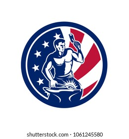 Icon retro style illustration of an American blacksmith or farrier holding hammer and anvil United States of America USA star spangled banner or stars and stripes flag circle isolated background.