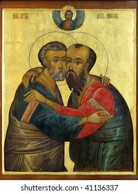 Icon of saint Apostles Paul and Peter on mahogany and gold