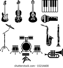A  icon set of musical instrument simple outline silhouettes