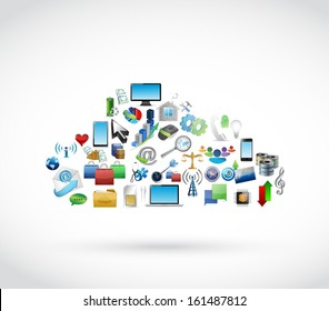 icon tools technology cloud. cloud computing illustration design over white