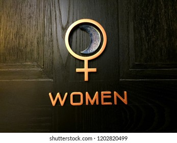 Icon of women in front of toilet room