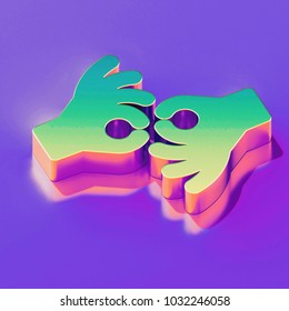 Icon of yellow green american sign language interpreting with gold and pink reflection on the glamour purple background. 3D illustration of creative Deaf, disabled, finger, gesture, gestures, hand is