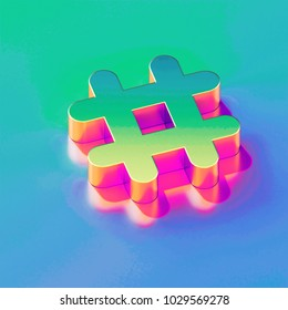 Icon of yellow green hashtag with gold and pink reflection on the brilliant blue green background. 3D illustration of network Hash, hash mark, hashtag, tag, topic, trending isometric icon.