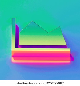 Icon of yellow green industry with gold and pink reflection on the brilliant blue green background. 3D illustration of network Ecology, energy, industry, plant, pollution, power, smoke isometric ico
