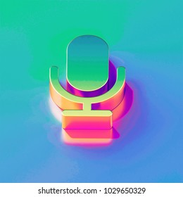 Icon of yellow green microphone with gold and pink reflection on the brilliant blue green background. 3D illustration of network Mic, microphone, old microphone, radio mic isometric icon.