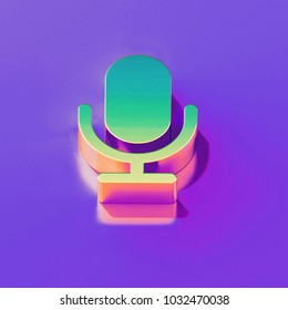 Icon of yellow green microphone with gold and pink reflection on the glamour purple background. 3D illustration of creative Mic, microphone, old microphone, radio mic isometric icon.
