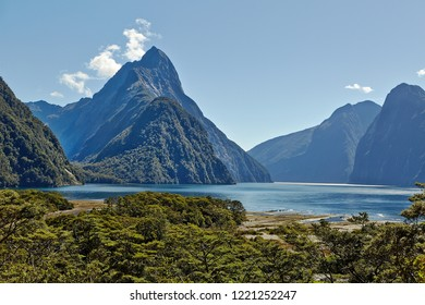 Iconi landscape at Milford Sound with view of Mitre Peak, Fjordland, New Zealand